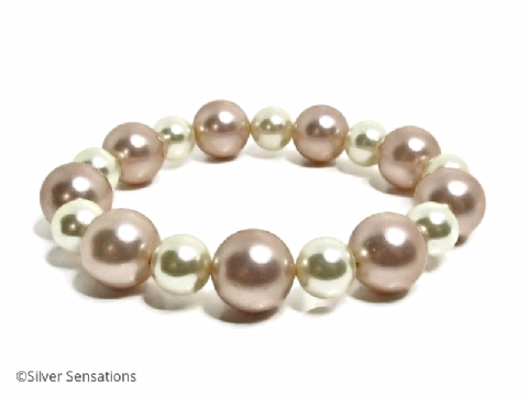 Champagne Peach & Ivory Cream Shell Pearls Chunky Bracelet